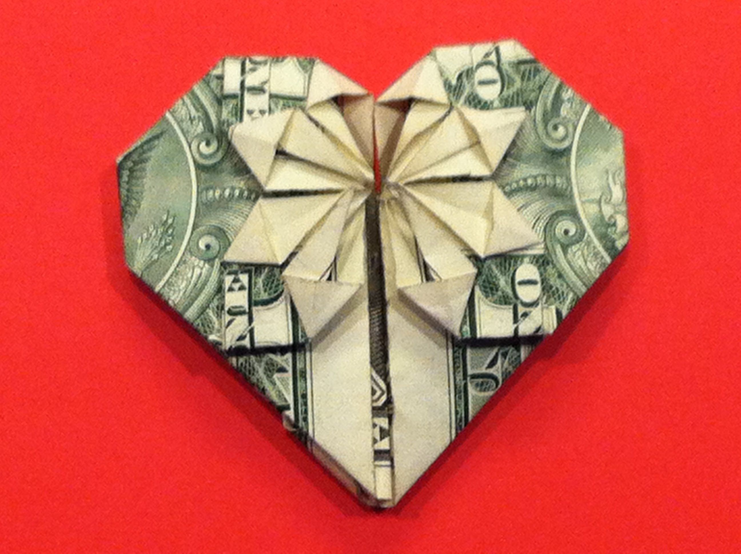 In This Video I Will Show You How To Fold A Heart With A Star Using One Us Dollar Bill This And More At Www J Dollar Bill Origami Dollar Origami Money