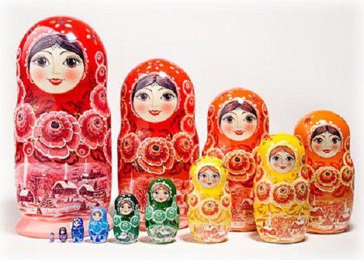 Semionov Style Russian Doll Matryoshka Nesting Doll Nastia 7 Pieces Set