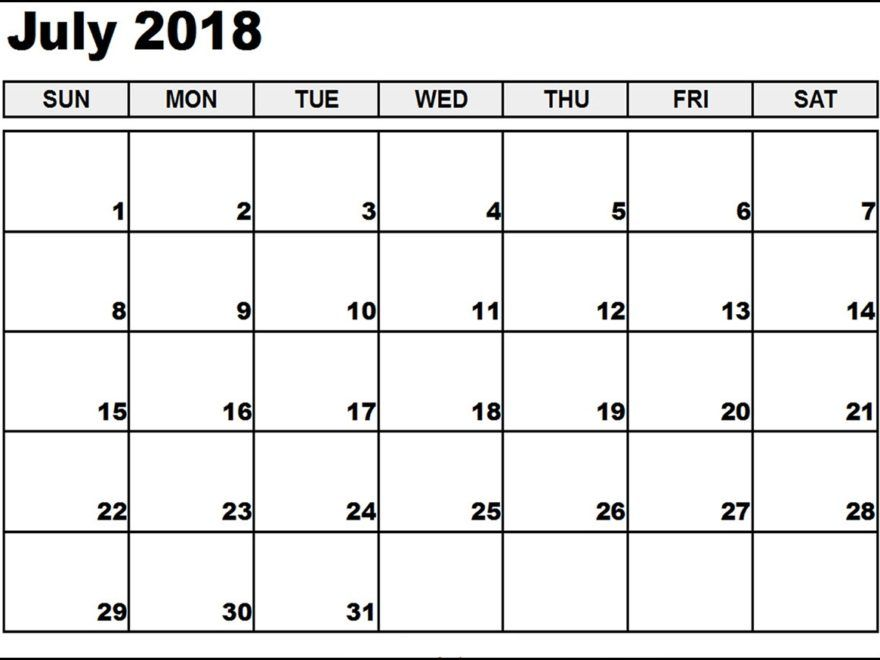 graphic regarding Free Printable Calendar Worksheets identified as Blank July 2018 Calendar Worksheet, no cost printables, no