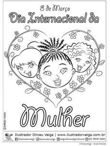 Dia Internacional Da Mulher Desenho Para Colorir Com Imagens