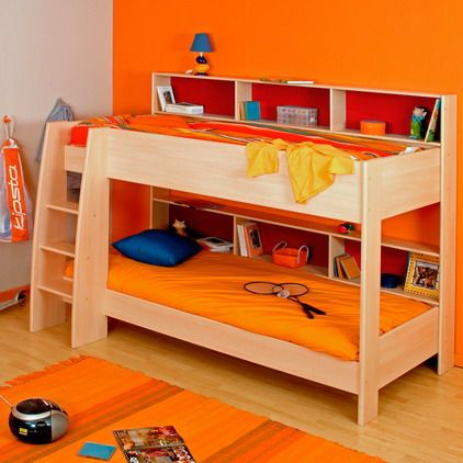 Bright Orange Bedroom Themes Decorating Ideas with Wood Modern Cheap Kids Bunk Beds with Storage Best Kids Bedroom Furniture Ideas with Cheap Bunk Beds with Storage