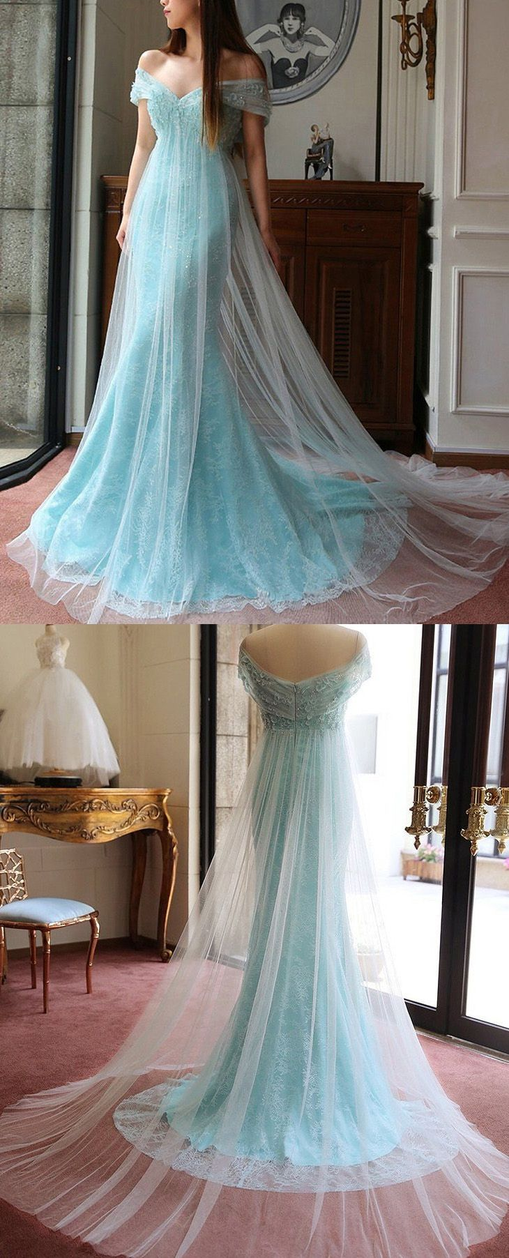 Custom made sweep train prom evening dress long light blue dresses