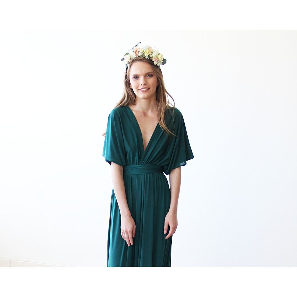 Emerald green batwing sleeves maxi dress bridal pinterest products