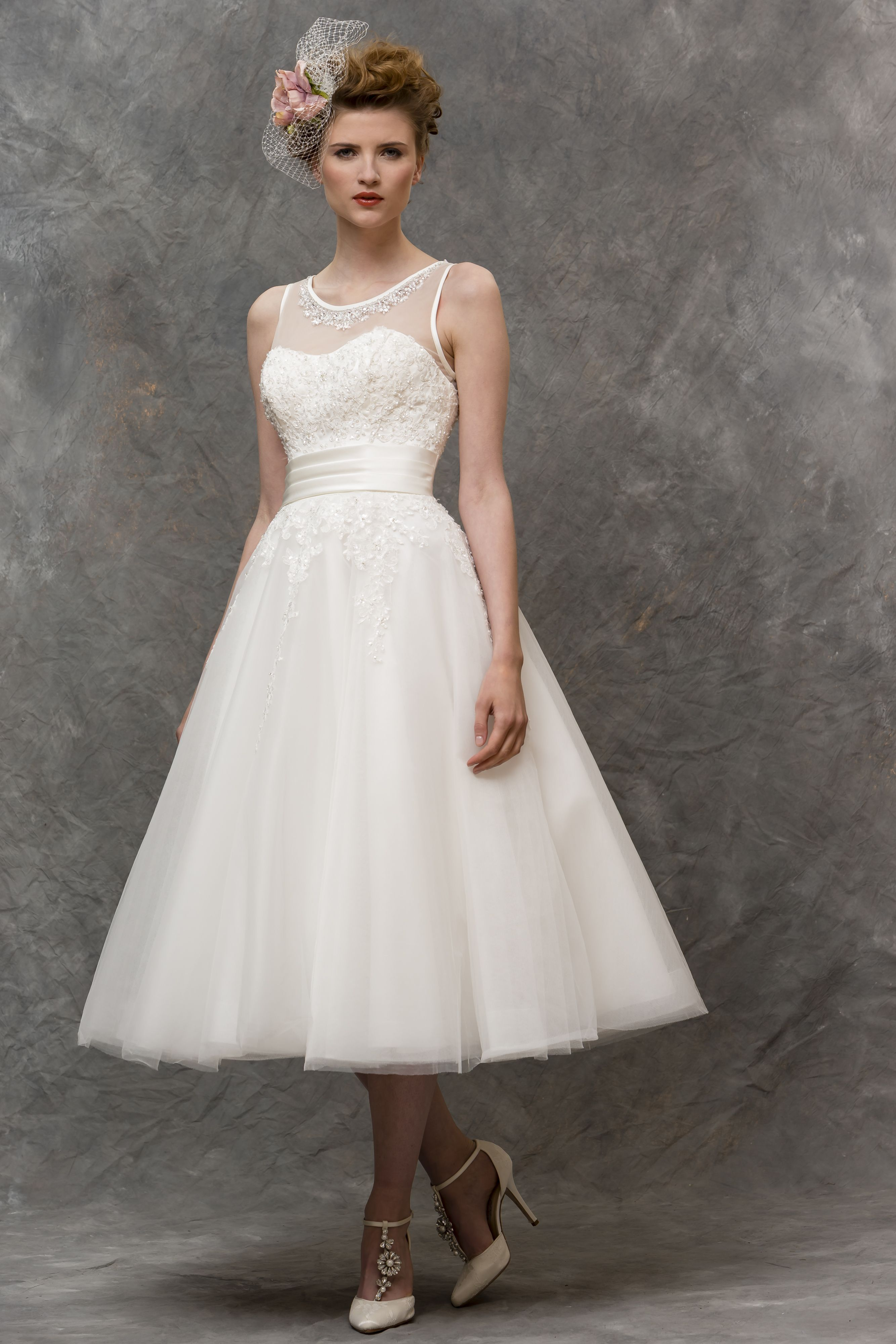 W136 - T-length bridal gown with sheer illusion neckline and sparkly ...