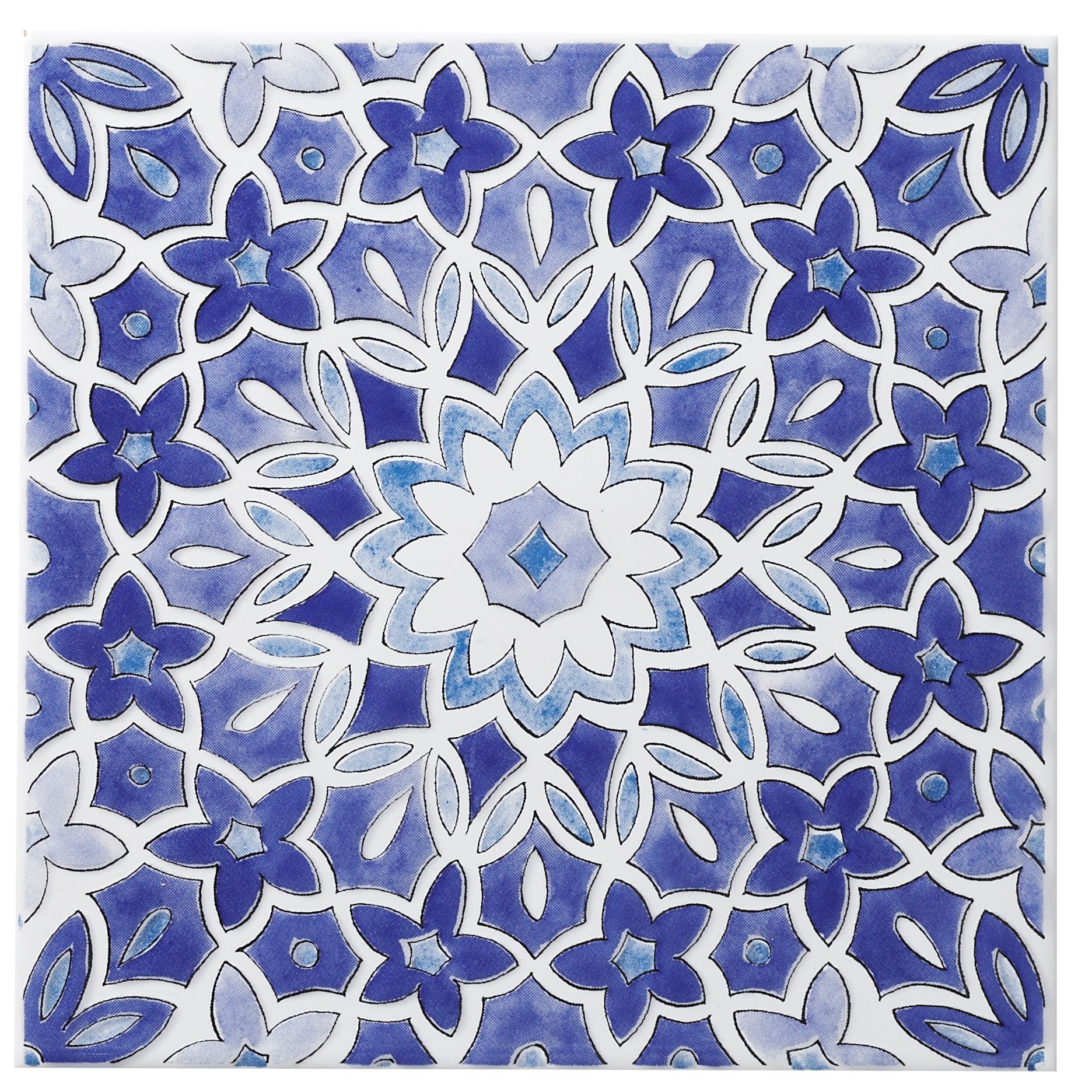 Fleur Blue Ceramic Wall Tile L 200mm W 200mm