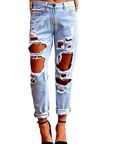 cd23d32819 Kasen Pantalones Sueltos Mujer Vaqueros Rotos Agujero Jeans Casuales ...