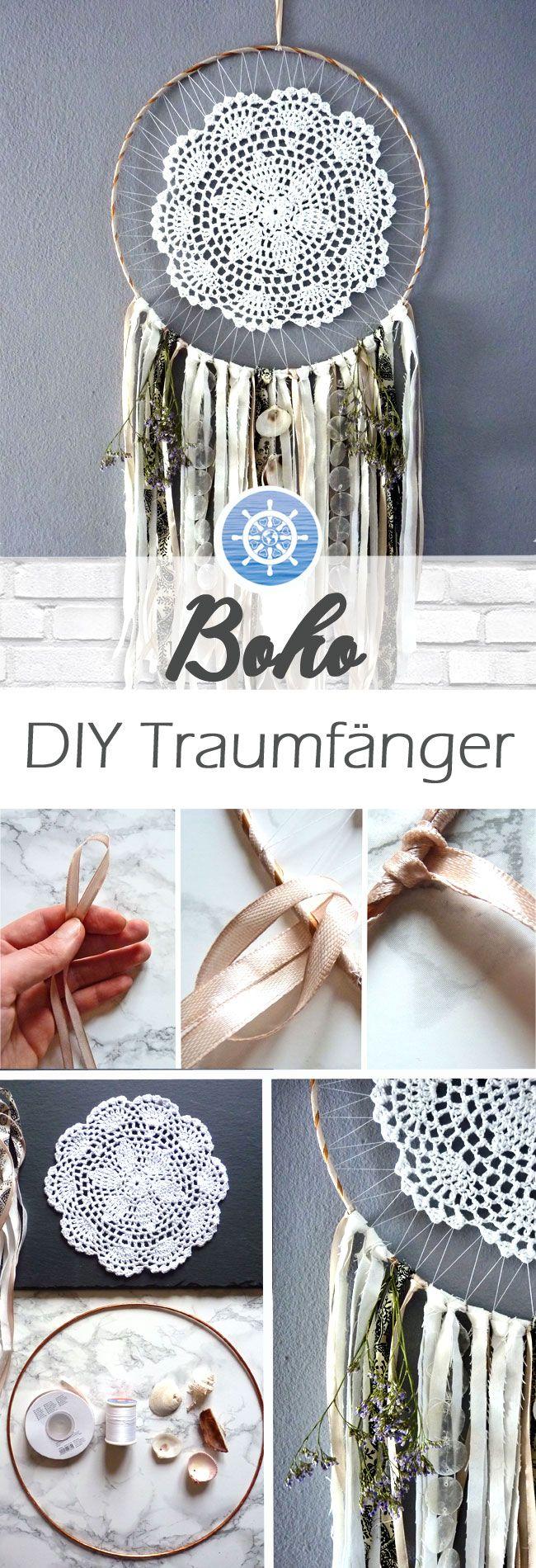 Traumfänger basteln: Boho DIY Traumfänger ganz leicht selber machen - DIY Anleitung via aye-aye-diy.com #hofideen