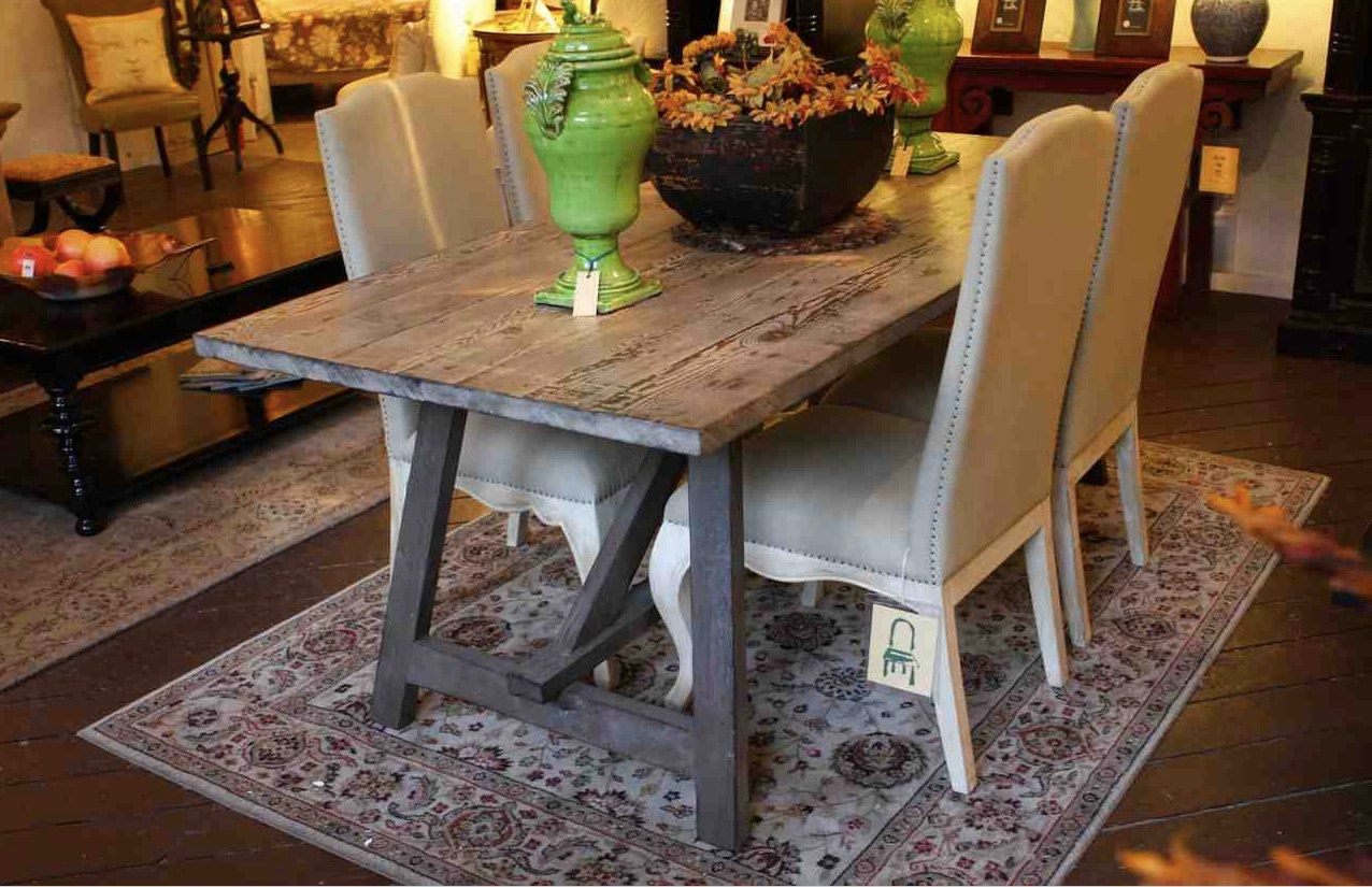 Old Wood Sawhorse Dining Table Built In