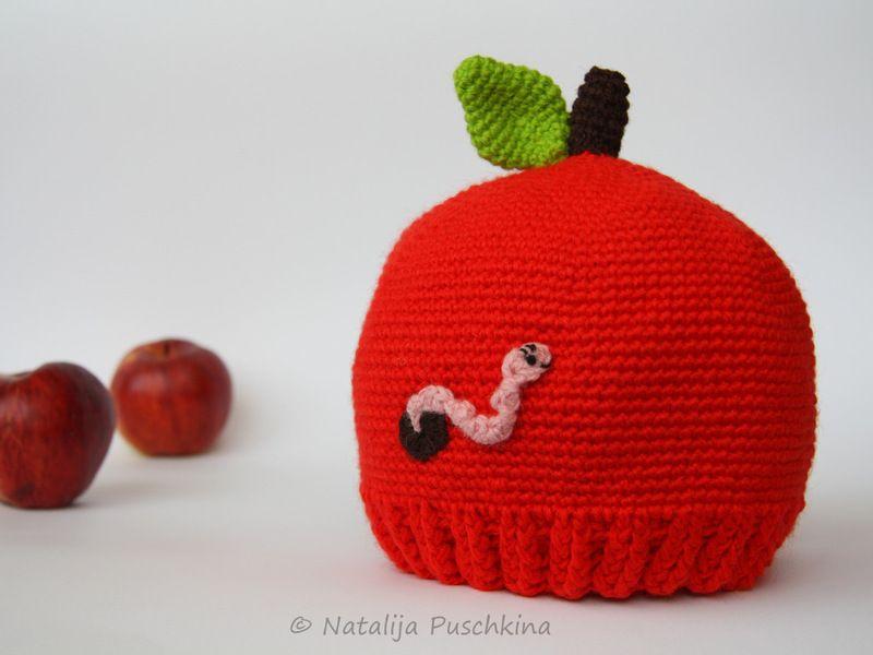 146 Kindermütze Apfel mit Wurm - Häkelanleitung von Natalija auf ...