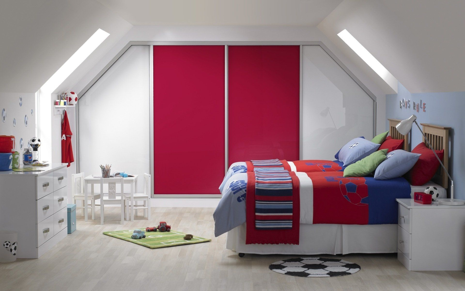 Red And White Bedroom Cupboard