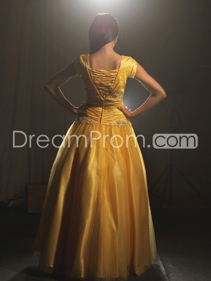 Square Neckline with Cap Sleeves in Ball Gown Skirt  New Prom Dress NM18