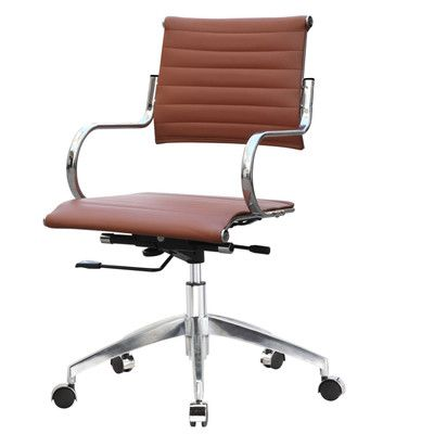 Fine Mod Imports Mid-Back Leather Desk Chair Upholstery: Light Brown