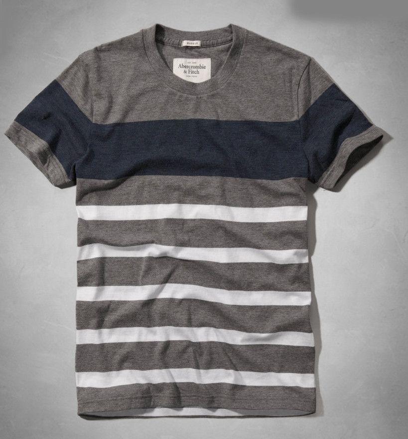 Abercrombie & Fitch Men's Allen Mountain Grey Stripe T-Shirt – FashionFest