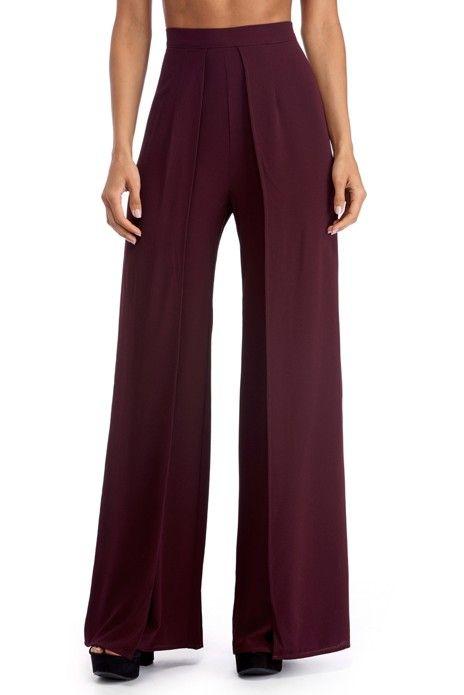 wide legged pants Women bordeaux wide legs trousers high waisted pants women pants wide legs pants pants with pockets womens clothing