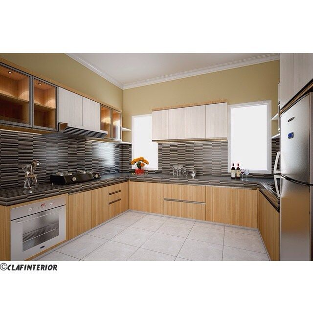 Simple Kitchen Set Design 2 #clafinterior #project #3D #design Captivating Kitchen Set Design Decorating Inspiration