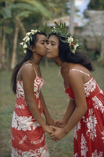 Women Exchange Cheek Kisses Tahiti Island Society Islands
