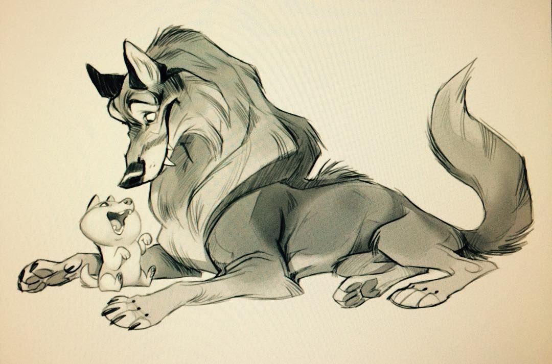 волк мультяшный рисунок карандашом случае