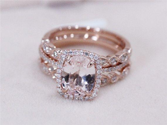 3 Rings Set Vs 7x9mm Pink Morganite Wedding Set By Abbyandwills Morganite Wedding Set Rose Engagement Ring Wedding Ring Sets