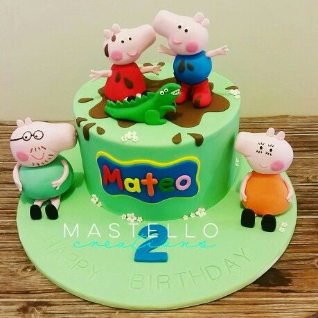 Peppa Pig cake Peppa, George, Mummy and Daddy Pig made by Mastello Creations