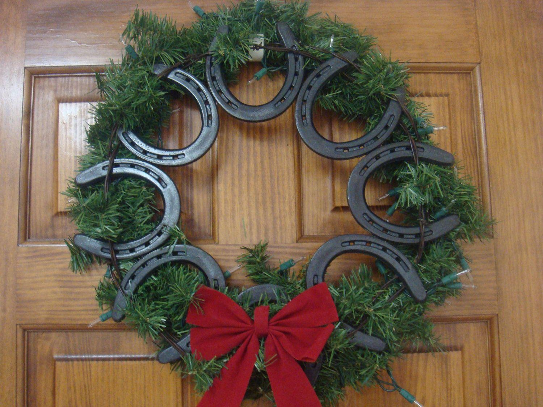 Western Christmas Wreaths Made Using Horseshoes