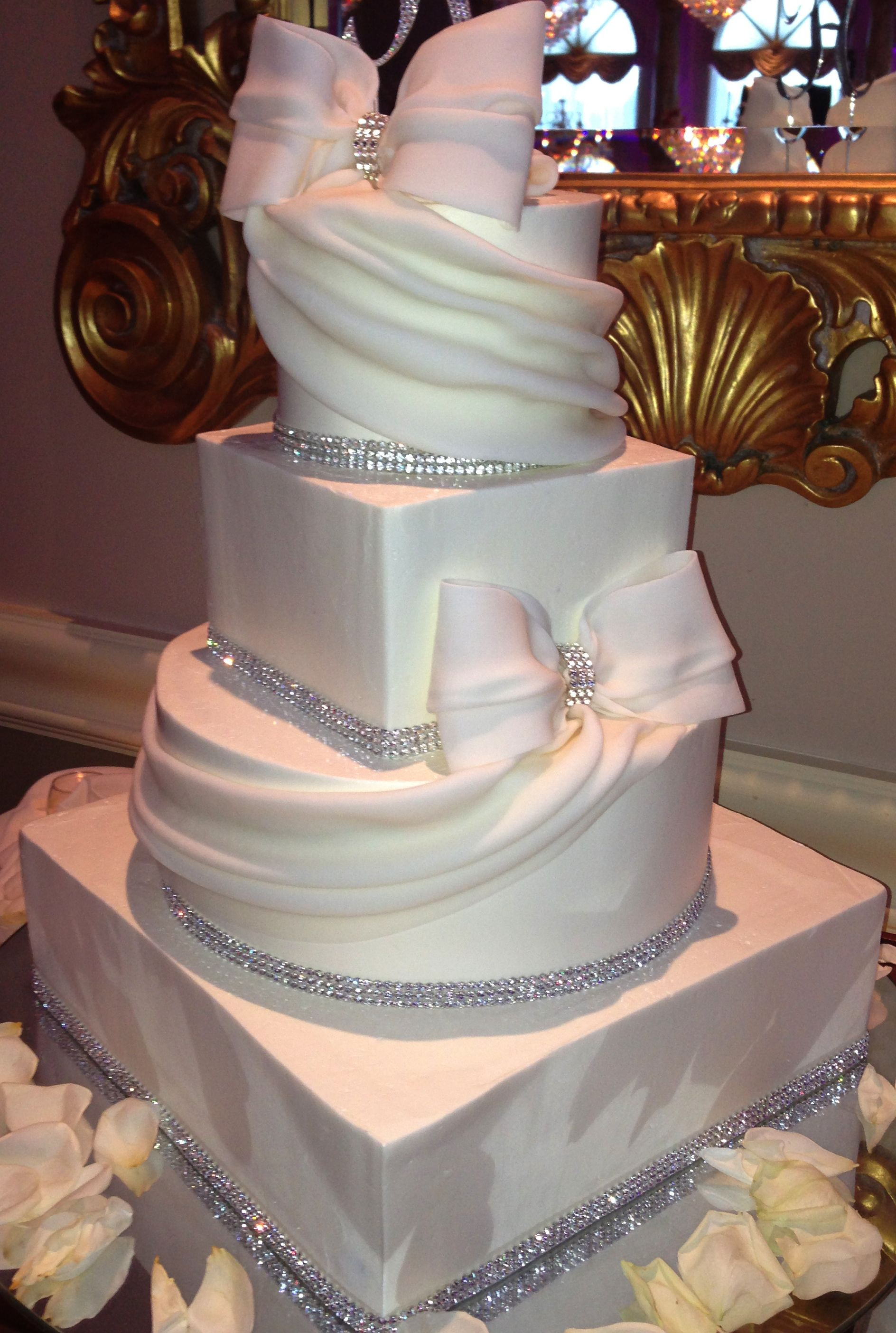 Square And Round Wedding Cake With Bling With Images Sparkly