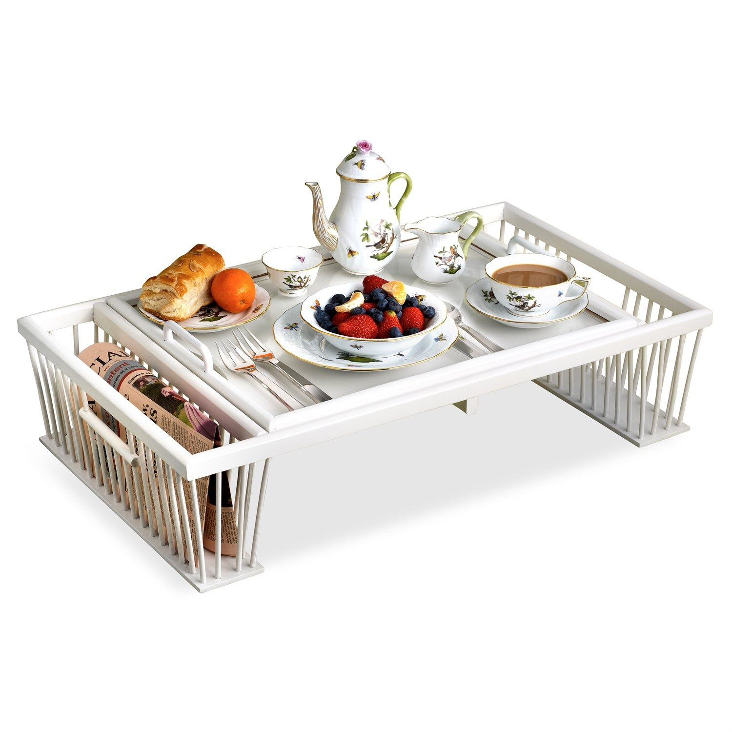 Breakfast Bed Tray With Reading Rack White Bed Tray Breakfast Tray Tray Decor