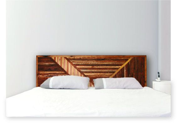 Wood Queen Size Headboard Abstract Art Deco Style by HabitatUne, $385.00
