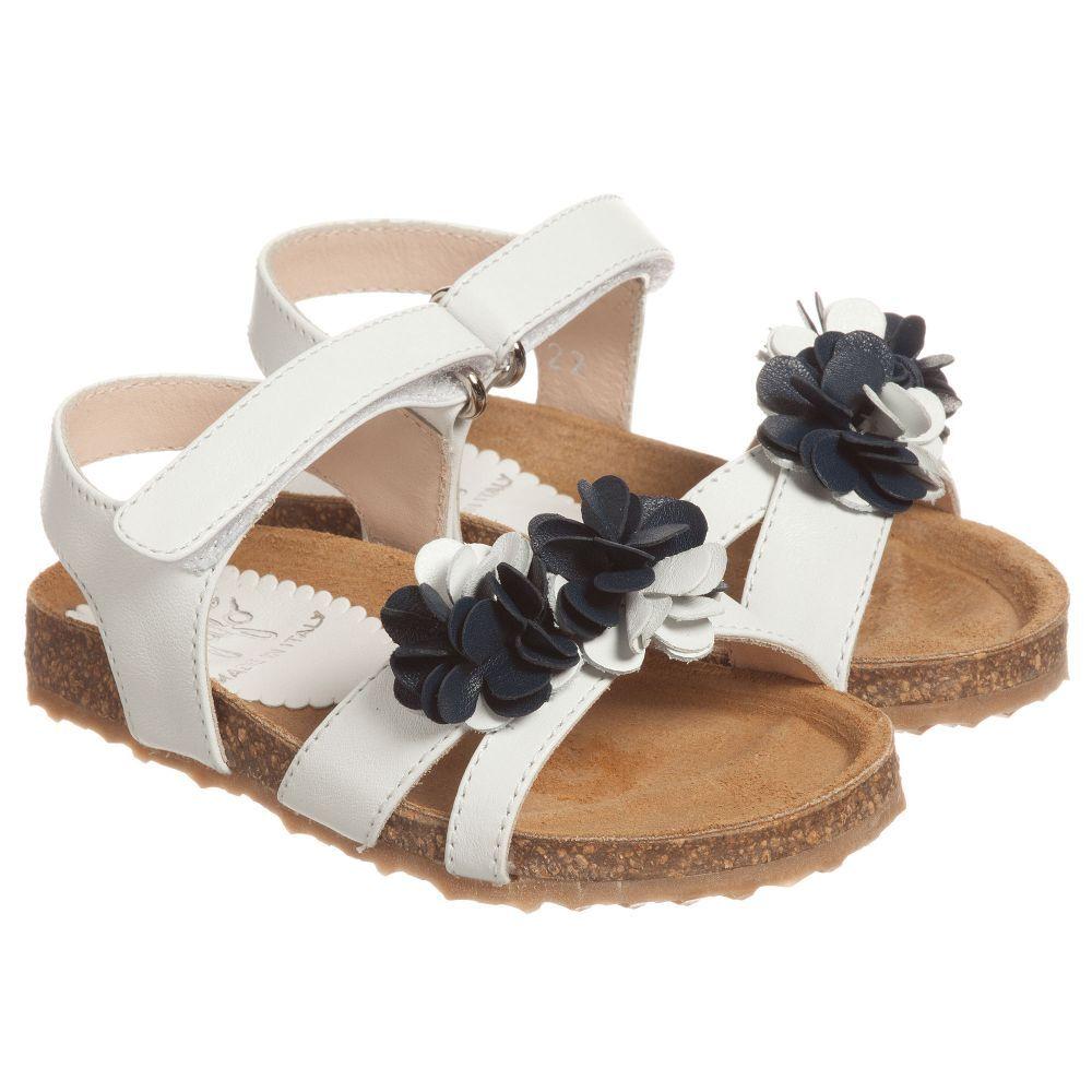 b14ead2eb2b7bc Il Gufo - Girls White   Blue Leather Floral Sandals