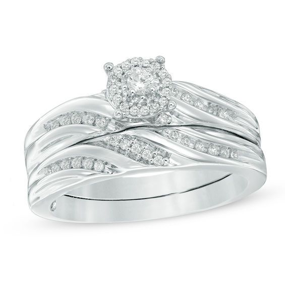 Sterling Silver Wedding Sets.1 4 Ct T W Diamond Slant Bridal Set In Sterling Silver