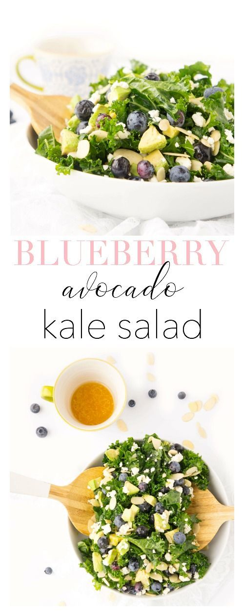 Blueberry & Avocado Kale Salad - Soups & Salads -
