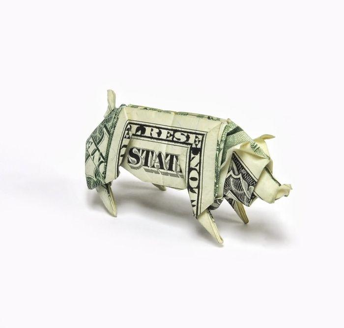 aus Geldschein Schwein falten, lustige und kreative Idee für - lustige bilder selber machen