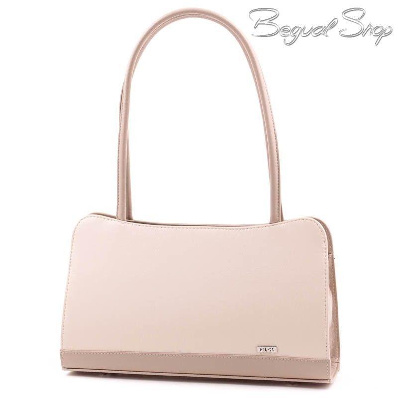e39586db3a25 Via55 bézs-kávébarna merev falú rostbőr női táska. 1 nagyobb cipzáros  rekesszel rendelkezik,