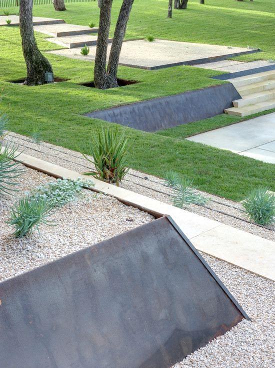 Gartenmauer bauen-ideen hangbefestigung-beetumrandung selber - garageneinfahrt am hang
