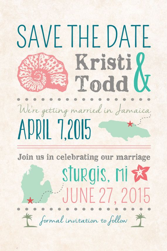 Diy Custom Save The Date Postcard After Destination Wedding At Home Reception Only