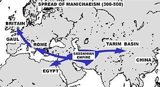 Manichaeism -the spread of a religion which was founded by the Iranian prophet Mani ca. 216–276 CE in the Sasanian Persian Empire. At its height it was one of the most widespread religions in the world. Manichaean churches and scriptures existed as far east as China and as far west as the Roman Empire. 3rd-7th C, it was briefly the main rival to Christianity in the competition to replace classical paganism. Manichaeism survived longer in the East than in the West.
