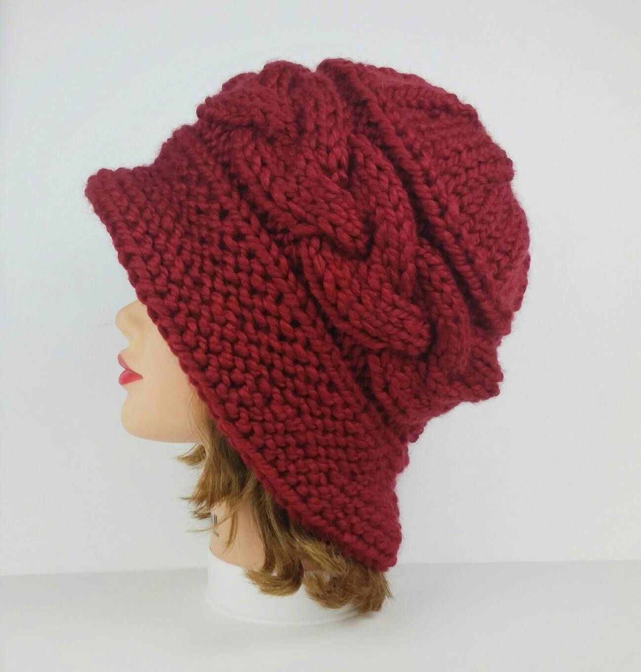 d287596704b Knit Cloche Hat - 1920s Hats - Cable Knit Hat - Flapper Hat - Women s  Cloche - Chunky Cloche in Russet - Red Hat - Women s Hat - Winter Hat by ...