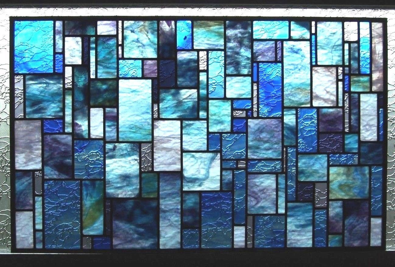 Large Stunning Decorative 20 034 x 32 034 Stained Glass Panel Blue Purple Gray Green | eBay