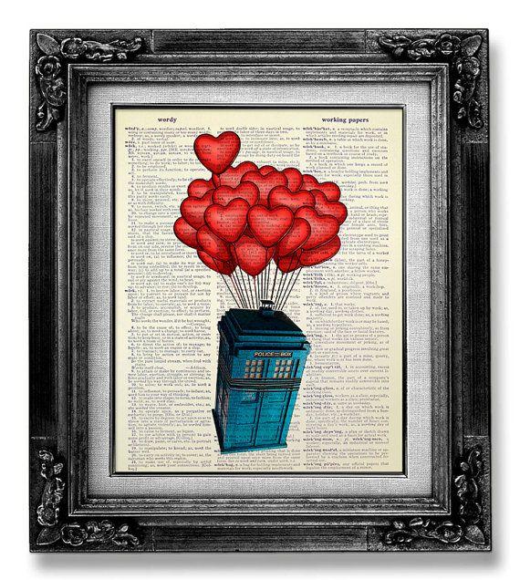 Doctor Who TARDIS Geekery affiche DR WHO Tardis Art par GoGoBookart, $10.00