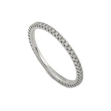 Πολύτιμο ολόβερο δαχτυλίδι Κ18 από λευκόχρυσο με σειρέ διαμάντια μπριγιάν  περιμετρικά  65d08336fd5