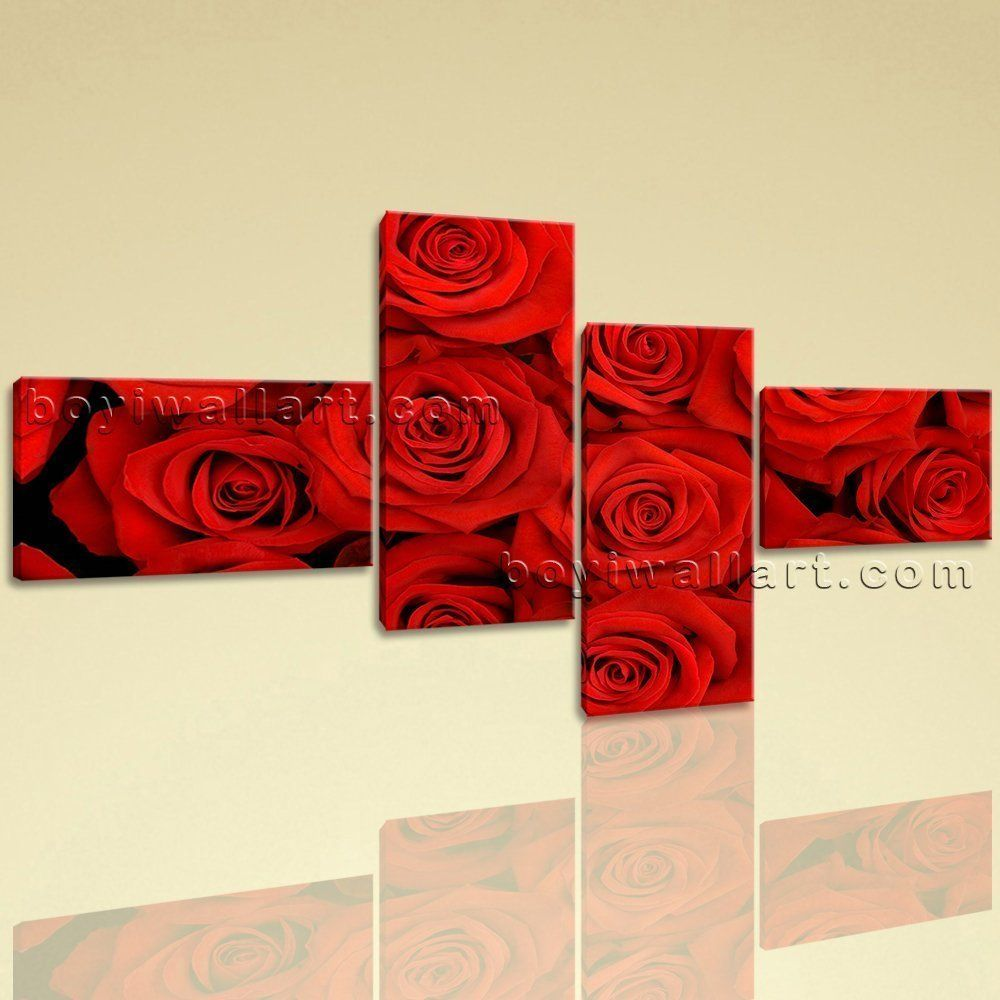 Modern wall art rose flower living room decor large hd pictures on
