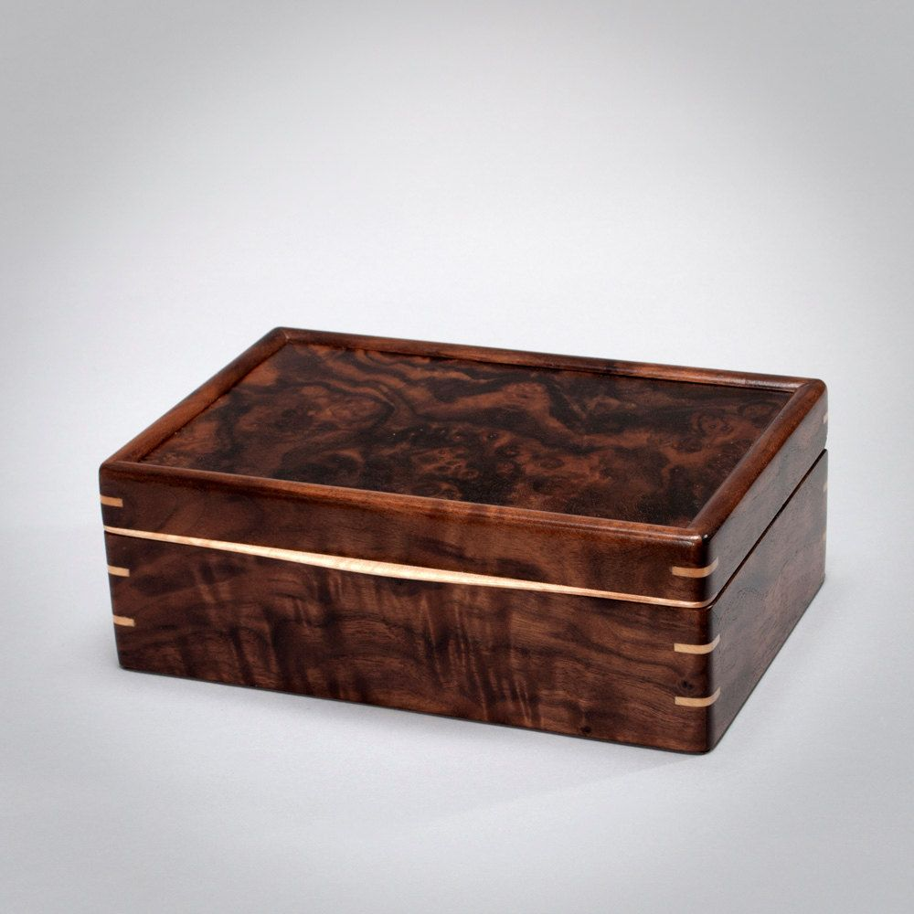 large keepsake box wooden mens box treasure box knick knack box mens valet box walnut with walnut burl lid the keeper