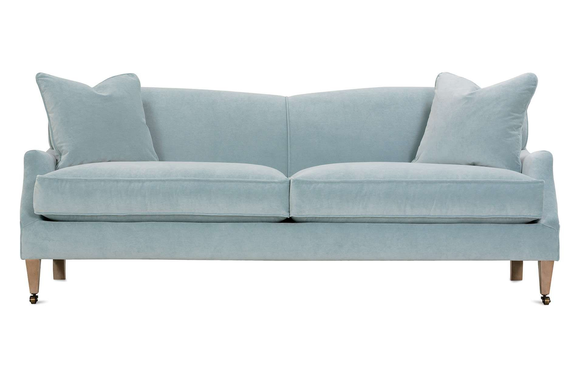 The Marleigh Sofa Is A Tight Back Sofa Featuring Two Cushions And Matching Pillows Customize The Body Fabric Tight Back Sofa Light Blue Sofa Cushions On Sofa