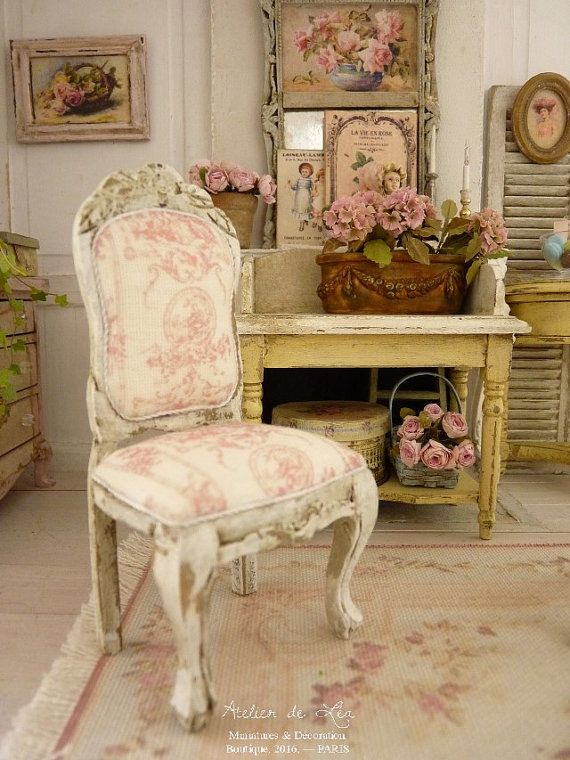 Miniature Doll Chair In Wood, Louis 15th, Shabby Pink French Toile De Jouy,  French Dollhouse Furniture In 1:12 Th Scale