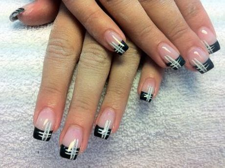 French Nagel Weiss Mit Muster French Nails Mickey Nails Nail Designs