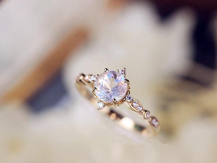 c00dd5ab3a0 Vintage Moonstone Engagement Ring Diamond Moonstone Ring Moosntone ...