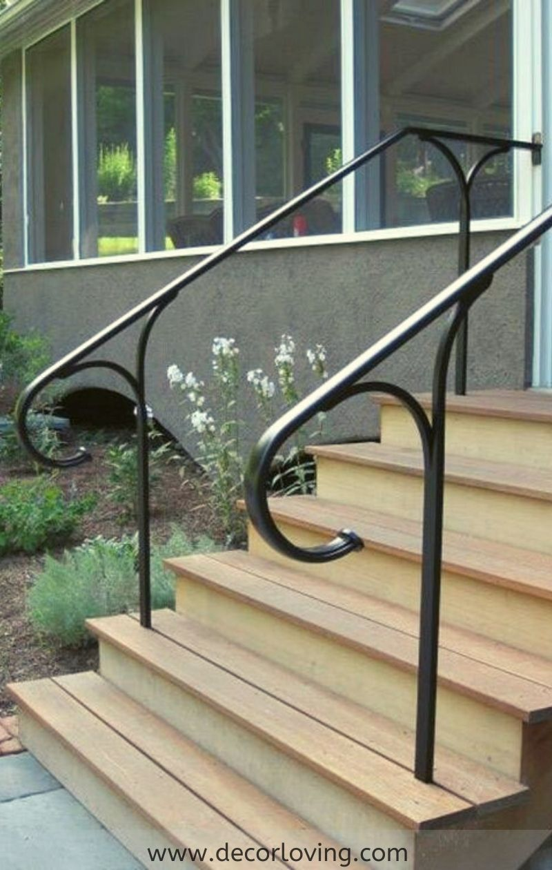 Metal Stair Handrail Ideas For Outdoor Stairs Design In 2020 Outdoor Stair Railing Exterior Stair Railing Stair Railing Design