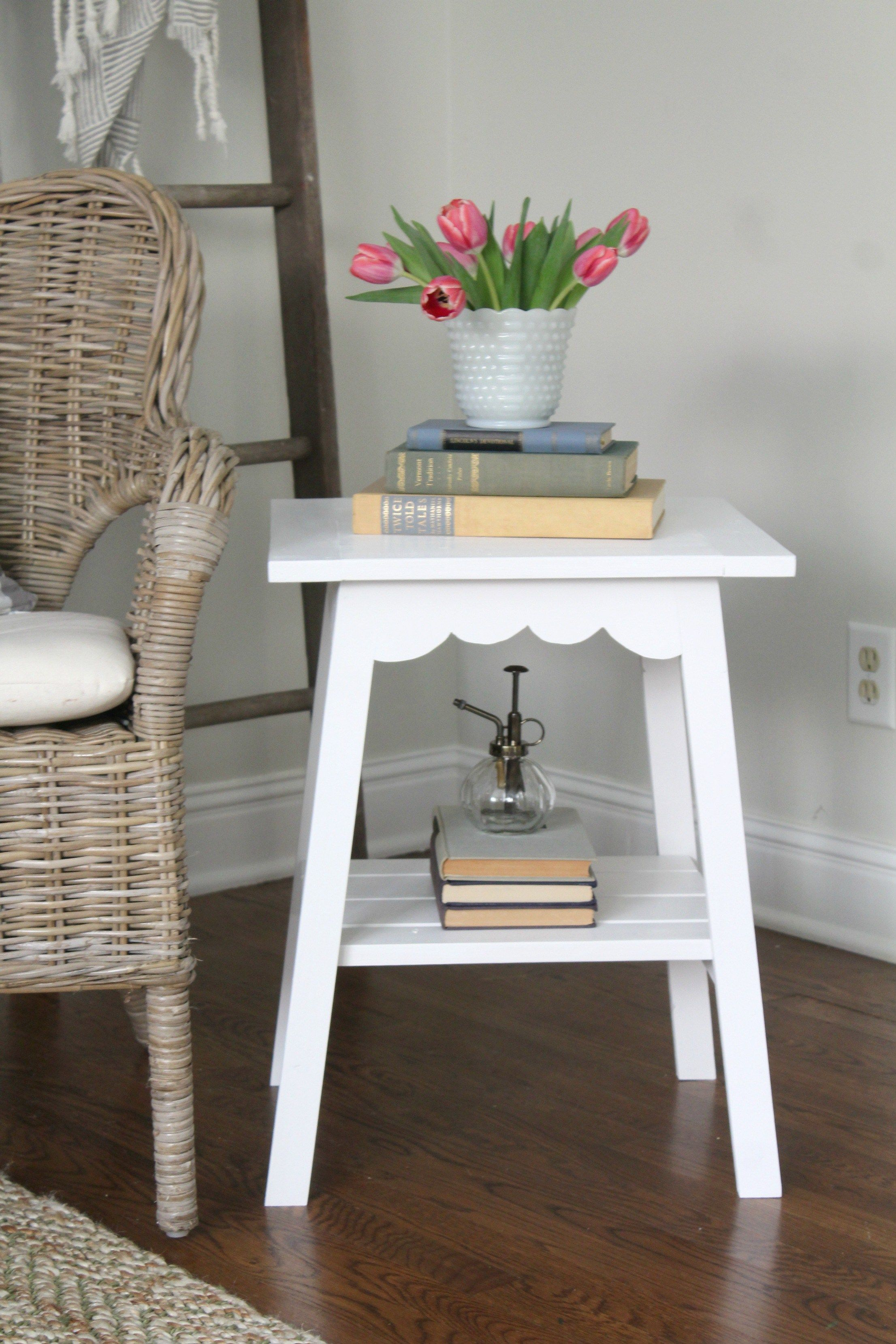 Farmhouse scallop end table sincerely marie designs