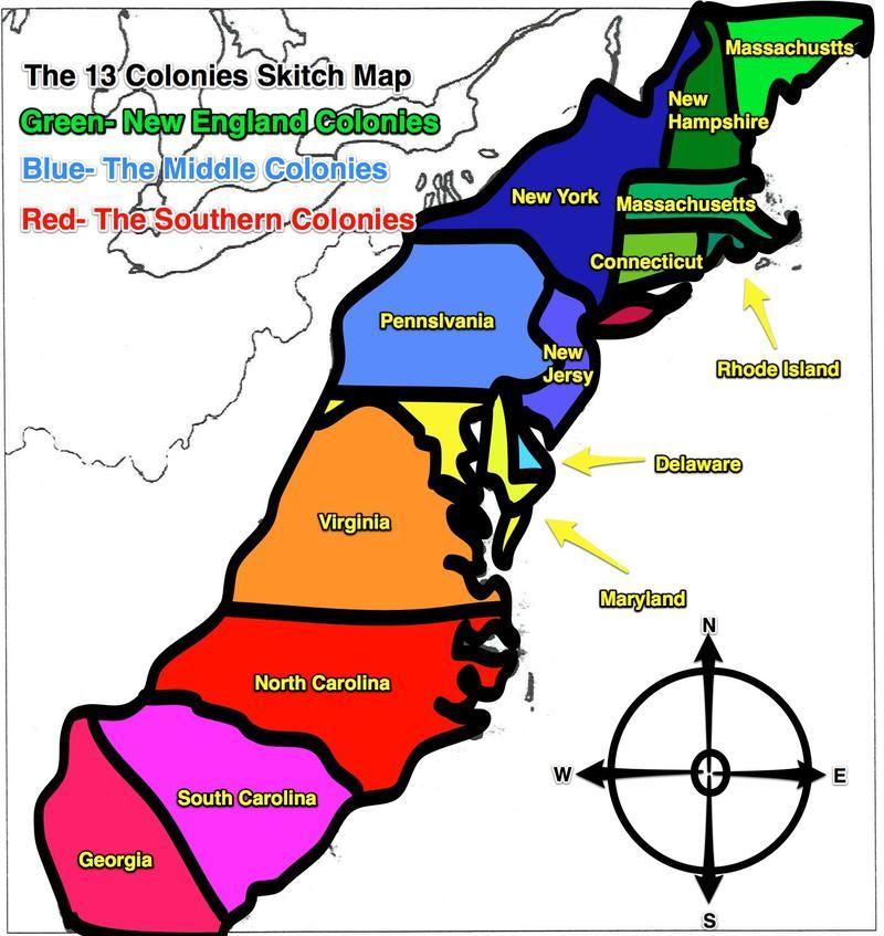 BlankmapUScoloniesjpg Pixels Homeschool Ideas - Us map with the 13 colonies