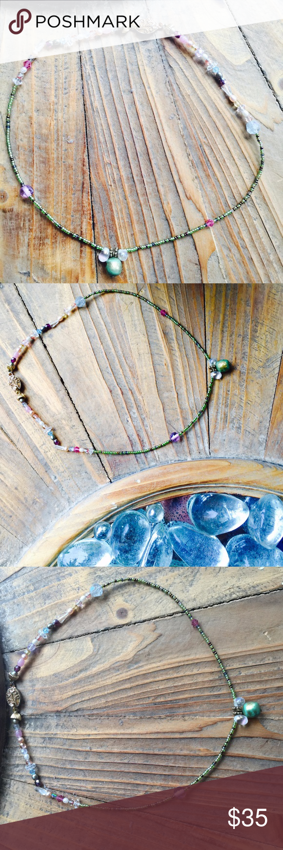 ". AVA Malibu 'Choker' BOUTIQUE \The Lion's Den// Handmade sea bead and handmade glass beads perfect for the beach or all 4 seasons. Delicate with a vintage gold plated clasp to close ::: Approximately [16""] in length. Please ask and any all questions prior to purchasing. The Lion's Den Jewelry Necklaces"