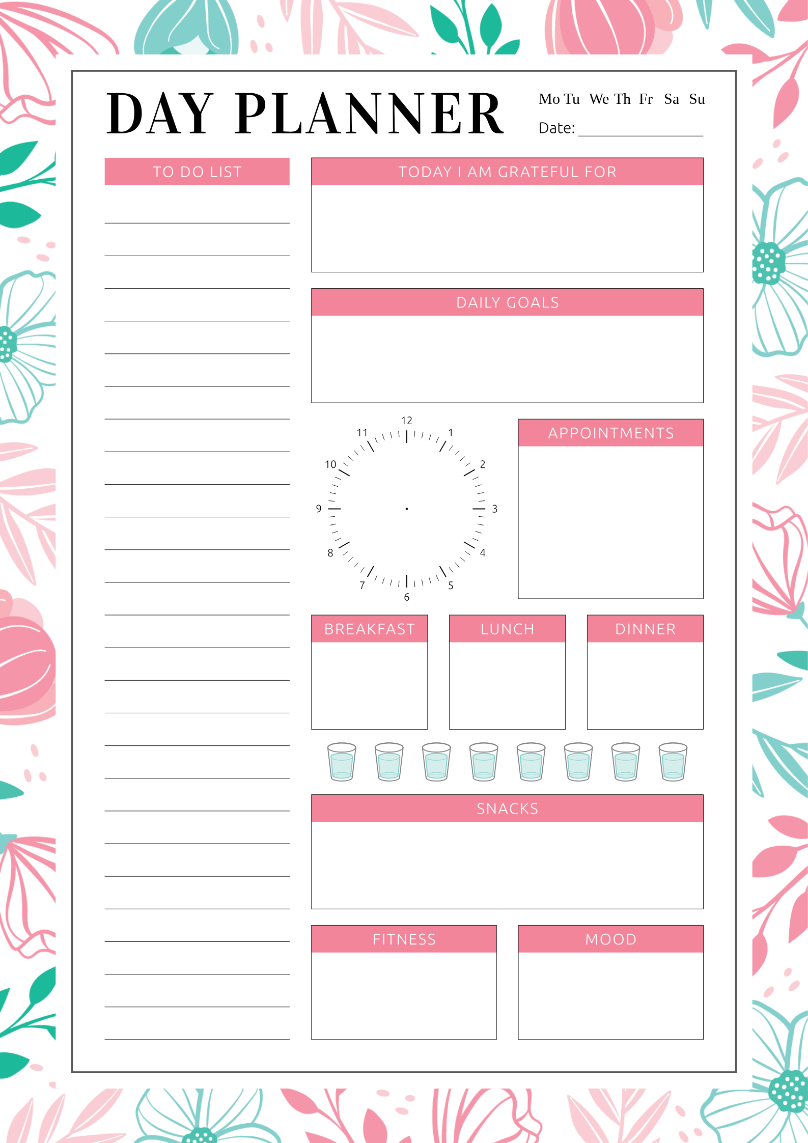 Beautiful daily planner template with blossom flowers in ...